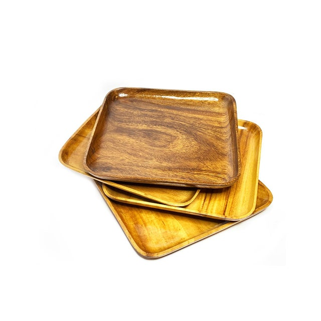 1940s Large Mid Century Modern Wood Plates - Set of 4 For Sale - Image 4 of 4