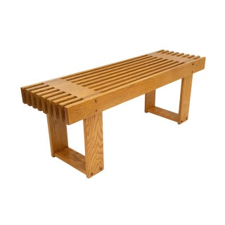 1960s Mid-Century Modern Oak Slat Bench For Sale