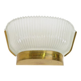French Art Deco Frosted Glass and Brass Sconce For Sale