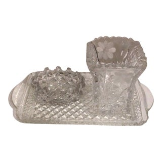 Vintage Floral Pattern Cut Lead Crystal Tray Bowl Vase - Set of 3 For Sale