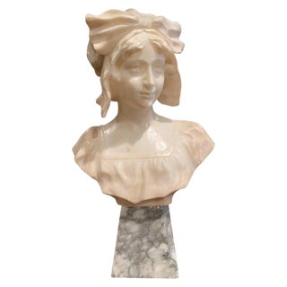 19th Century French Carved White Marble Woman Bust Sculpture on Grey Base For Sale