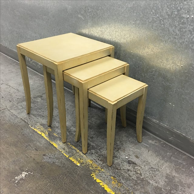 New Loggia Showroom Wooden Nesting Tables With Metallic Finish - 3 - Image 4 of 7