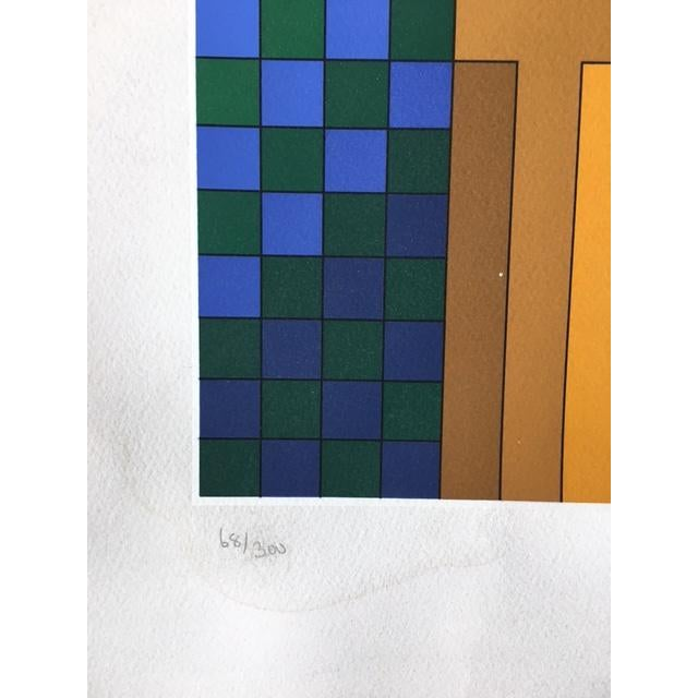 """Victor Vasarely Victor Vasarely """"Harlequin Sportif"""" Signed Silkscreen Seriograph For Sale - Image 4 of 7"""