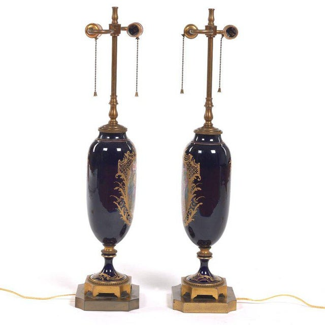 Louis XVI Pair of Sèvres Style Ormolu-Mounted Urns, Now as Lamps For Sale - Image 3 of 7