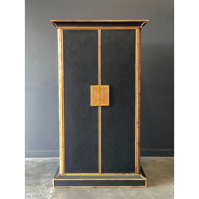 Black Empire Bamboo & Grass Armoire For Sale - Image 8 of 8