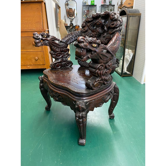 Vintage Carved Rosewood Oriental Dragon Chairs - a Pair For Sale - Image 4 of 12