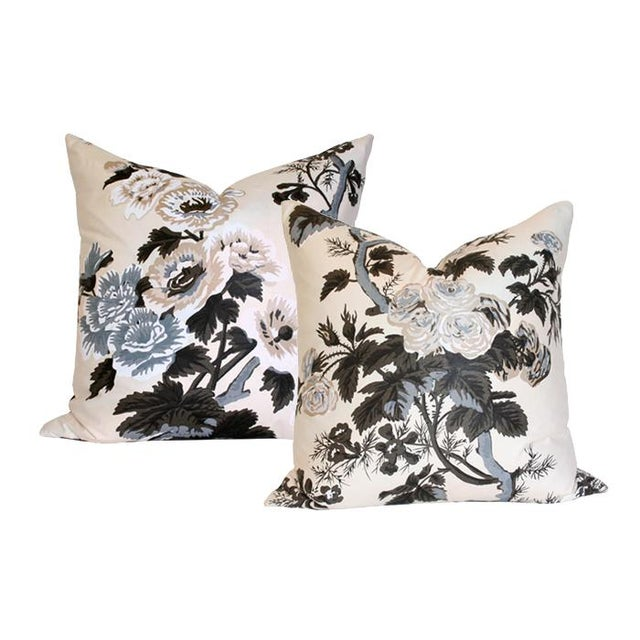 """Pyne Hollyhock Charcoal Pillow Covers - a Pair 20"""" Sq - Image 4 of 4"""
