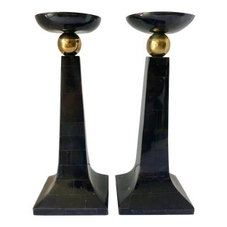 M.Smith Stone & Brass Candle Holders For Sale