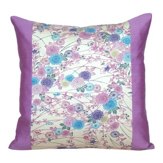 Pink, Purple and Blue Floral Japanese Silk Kimono Pillow Cover For Sale