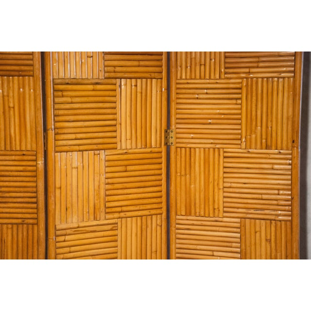 Rattan Circa 1950 Vintage Japanese Rattan 3 Panel Folding Screen For Sale - Image 7 of 8
