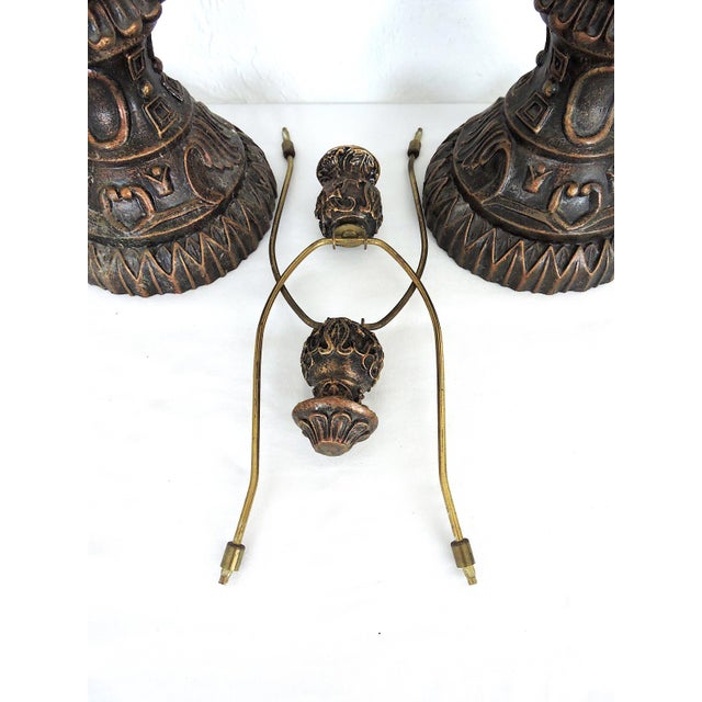 Mid 20th Century Vintage Anglo Indian Bronze Style Patinated Elephant Table Lamps - a Pair For Sale - Image 5 of 8