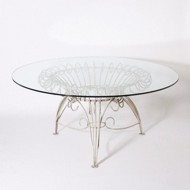 Round Metal Dining Table With Clear Glass Top, C. 1950 For Sale - Image 11 of 11