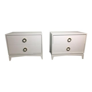 Mid-Century Modern White Nightstands - a Pair For Sale