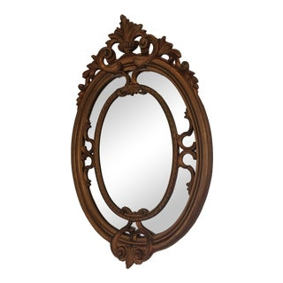 19th Century Italian Baroque Style Gilded Oval Wall Mirror For Sale