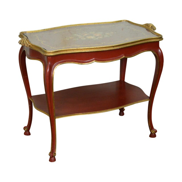 Rococo Hand Painted Partial Gilt Etagere 2 Tier Table - Image 11 of 11
