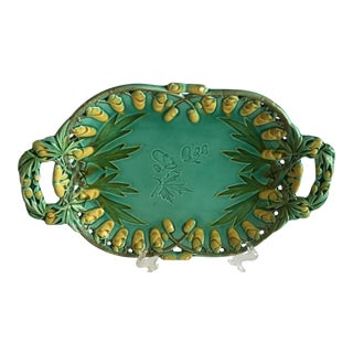 Antique Majolica Tray With Handles