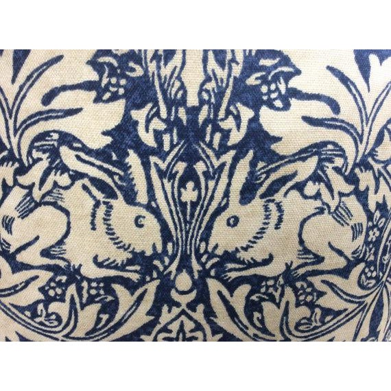 "Arts & Crafts William Morris ""Brer Rabbit"" in Indigo & Off-White Pillows - a Pair For Sale - Image 3 of 6"