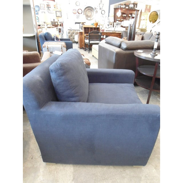 Restoration Hardware Upholstered Navy Armchair - Image 5 of 5