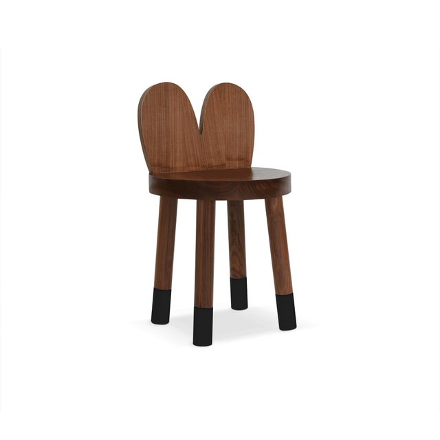 Children's Lola Kids Chair in Walnut With Black Finish For Sale - Image 3 of 3