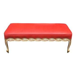 Regency Style Red-Orange Leather Ribbon Bench by Randy Esada Designs for Prospr For Sale