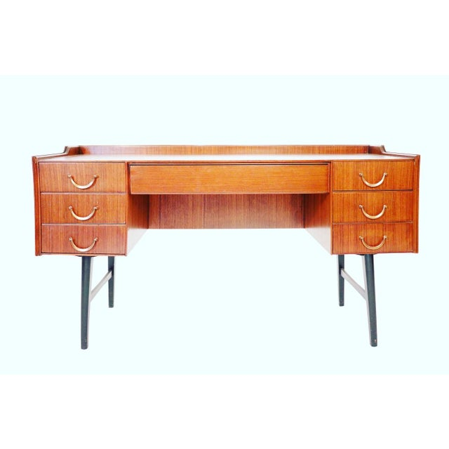 Stunning Mid century vanity low desk with 6 drawers and brass handles sturdy & heavy. Good condition considering use and...