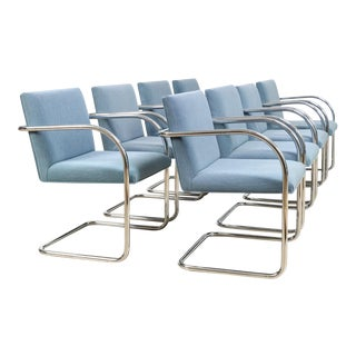 Mid Century Mies Van Der Rohe Model 504 Brno Gordon Blue and Chrome Tubular Arm Chairs, Set of 8 For Sale