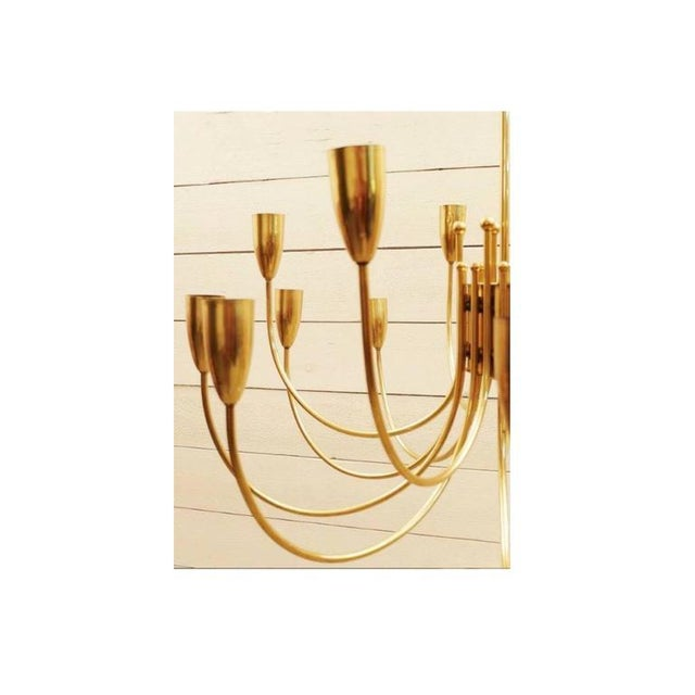 Two Pairs of 1970s Brass Chandeliers For Sale - Image 4 of 6