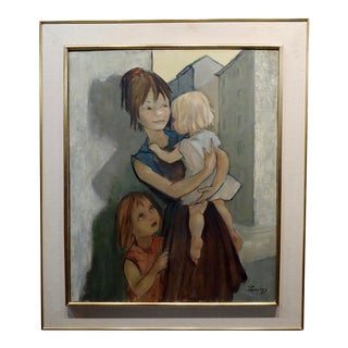 French Mother With Her Two Kids Oil Painting by Pierre Le Faguays For Sale