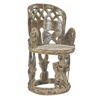 Impressive Yoruba Carved Chair For Sale