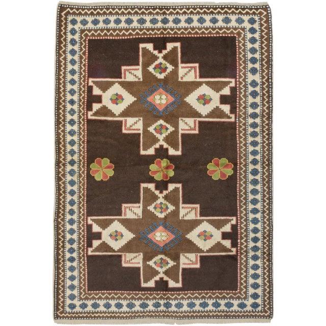 "Antique Shiravan Brown Wool Rug - 5'11"" X 8'4"" - Image 1 of 2"