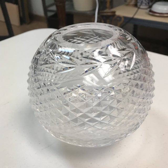 Beautiful rose bowl or vase from Waterford. Classic diamond cut pattern with a graceful laurel leaf just below the rim. A...