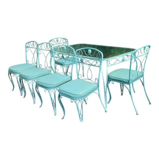 Mid Century Woodard Outdoor Patio Set - 7 Pieces For Sale