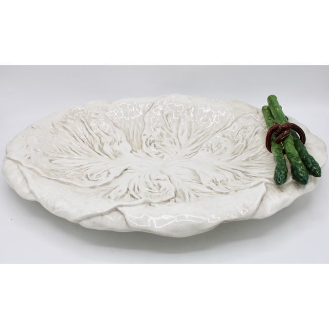 Mid Century Italian Ceramic White Cabbage Leaf and Asparagus Platter For Sale - Image 4 of 13