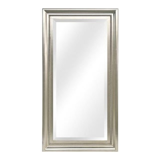 Giulietta Satin Silver Wood Framed Full Length Floor Mirror For Sale