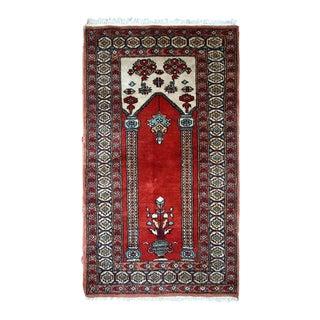 1970s Handmade Vintage Prayer Turkish Konya Rug - 2' x 3' For Sale