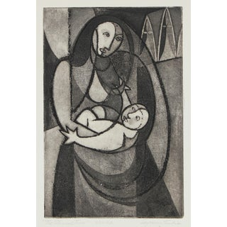 """""""The Eternal Two"""" Madonna and Child, Etching on Paper, Late 1940s For Sale"""