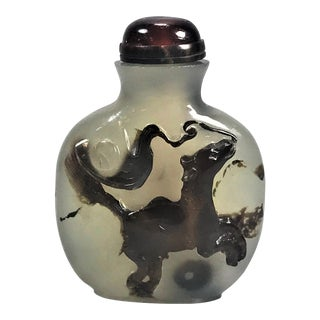 19th Century Chinese Antique Cameo Agate Snuff Bottle For Sale