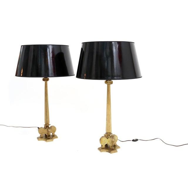 Hollywood Regency Maison Jansen Style Brass Hollywood Regency Lamps For Sale - Image 3 of 7