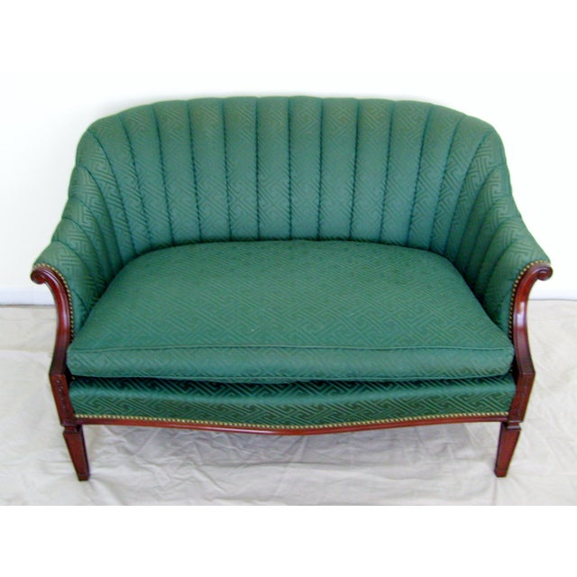 Vintage Green Channel Back Settee For Sale - Image 9 of 9