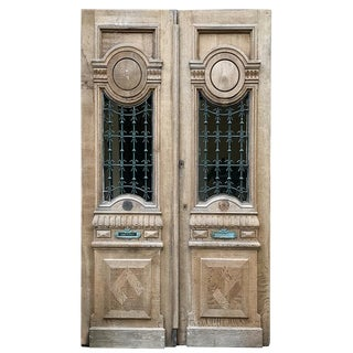 Pair 19th Century Carved & Stripped Oak Doors With Wrought Iron For Sale