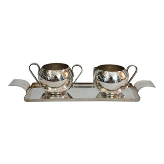 1920s Art Deco Silver Creamer and Sugar Bowl with a Tray - Set of 3 For Sale