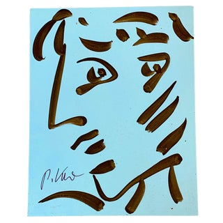 Vintage Original Peter Robert Keil Abstract Blue Face Painting. For Sale