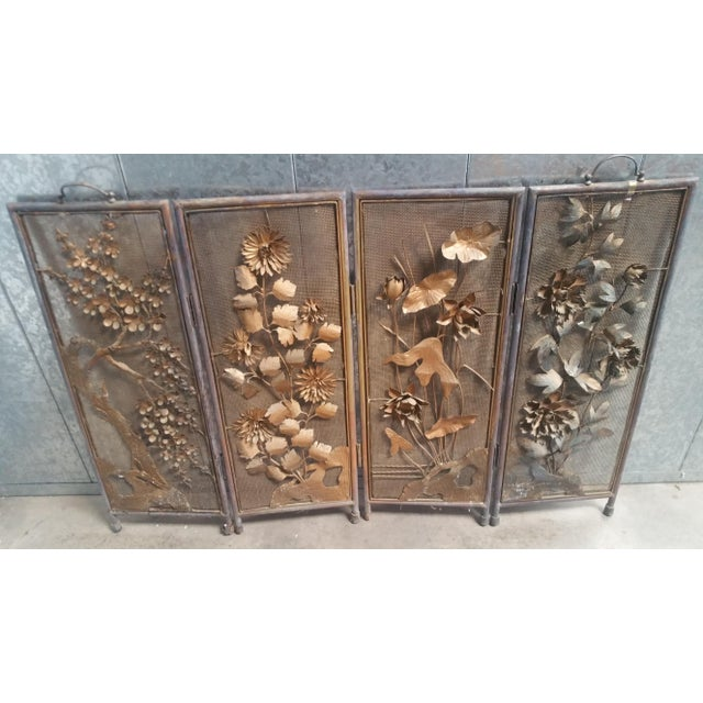 Gold Vintage Asian Gold 4-Panel Hinged Firescreen For Sale - Image 7 of 8