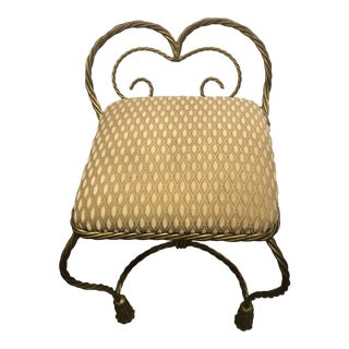 1980s Vintage Twist Gold Rope Vanity Chair For Sale