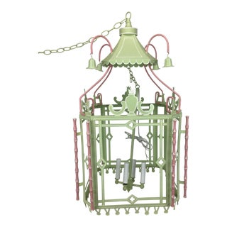 1970s Traditional Pagoda-Top Light Green Tole Lantern For Sale