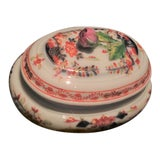 Image of Vintage Meissen Porcelain Trinket Box With Rose Finial and Asian Designs For Sale