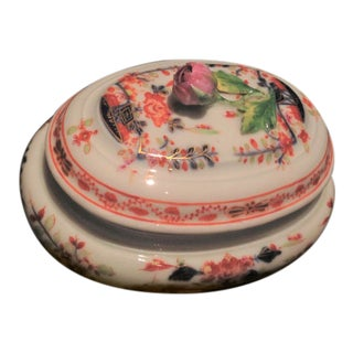 Vintage Meissen Porcelain Trinket Box With Rose Finial and Asian Designs For Sale