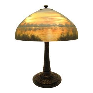 1910s Art Nouveau Jefferson Reverse Painted Lamp For Sale