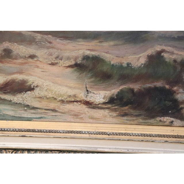 1930s 20th Century French Oil Painting on Canvas Signed Marine Subject With People For Sale - Image 5 of 10