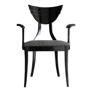 Black Lacquer Italian Neo Art Deco Armchair For Sale
